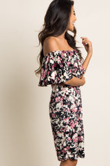 Black Floral Velvet Ruffle Off Shoulder Dress