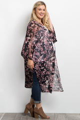 Black Floral Print Long Plus Maternity Kimono