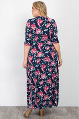Navy Blue Floral Sash Tie Plus Maternity/Nursing Wrap Maxi Dress