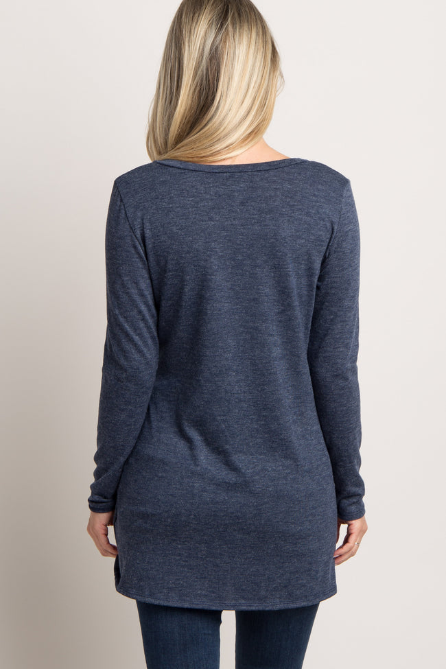 Navy Basic Knot Maternity Sweater