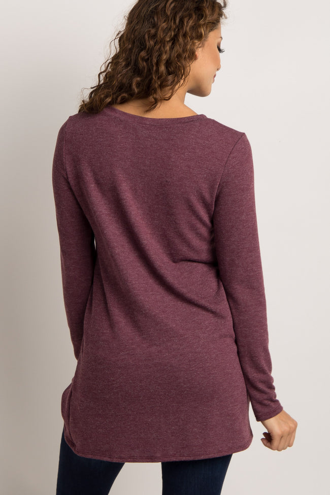Burgundy Basic Knot Sweater