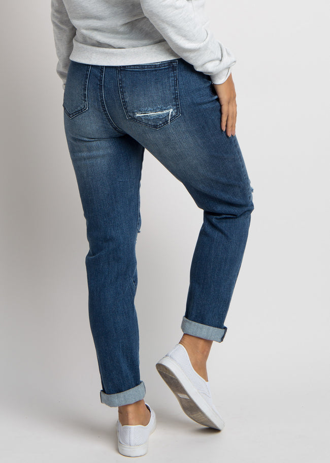 Blue Distressed Cuffed Maternity Jeans