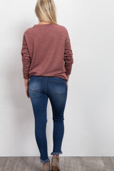 Blue Ripped Knee Frayed Maternity Jeans