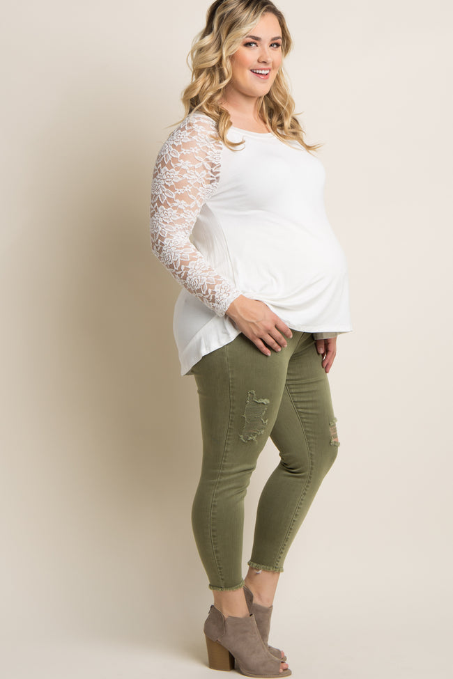 Light Olive Distressed Plus Maternity Skinny Jeans