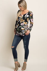Navy Blue Distressed Cuffed Convertible Maternity Jeans