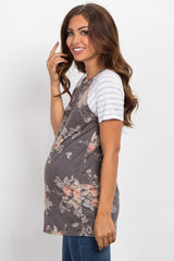 Charcoal Grey Floral Colorblock Striped Sleeve Maternity Top