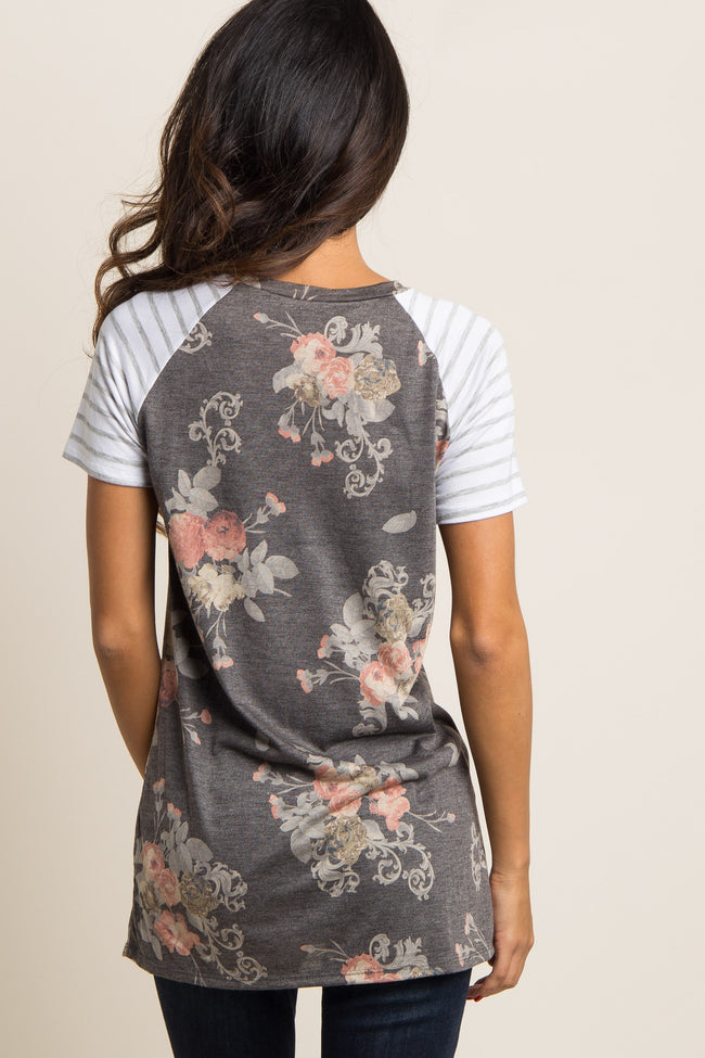 Charcoal Grey Floral Colorblock Striped Sleeve Top