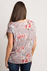 Mocha Floral Zipper Front Maternity Top