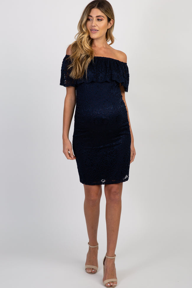 Navy Blue Lace Off Shoulder Fitted Maternity Dress