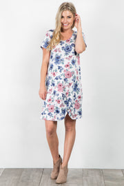Ivory Floral Short Sleeve Maternity Knot Dress