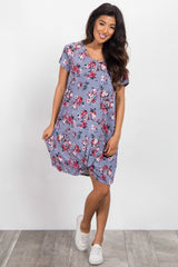 Periwinkle Floral Short Sleeve Knot Dress