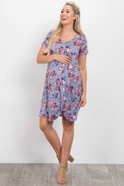 Periwinkle Floral Short Sleeve Maternity Knot Dress