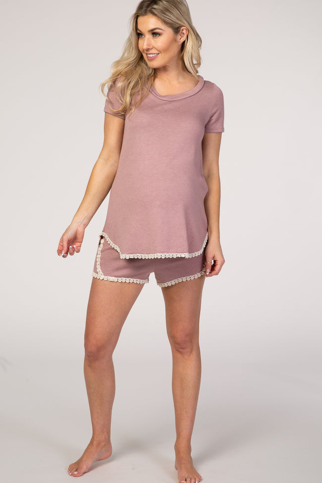 PinkBlush Mauve Crochet Trim Maternity Short Pajama Set