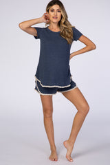 PinkBlush Navy Blue Crochet Trim Maternity Short Pajama Set