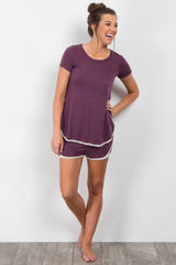 Purple Crochet Trim Short Pajama Set