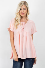 Pink Chiffon Lace-Up Maternity Top
