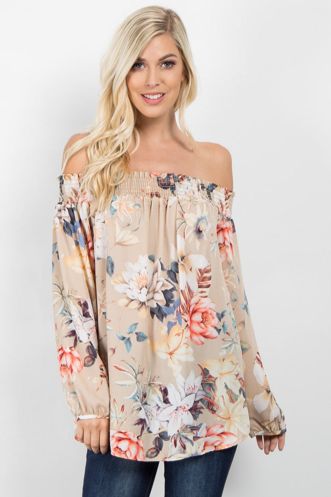 Taupe Floral Chiffon Off Shoulder Top