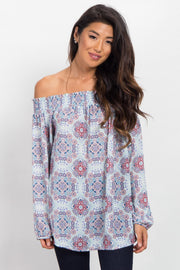 Light Blue Printed Chiffon Off Shoulder Top