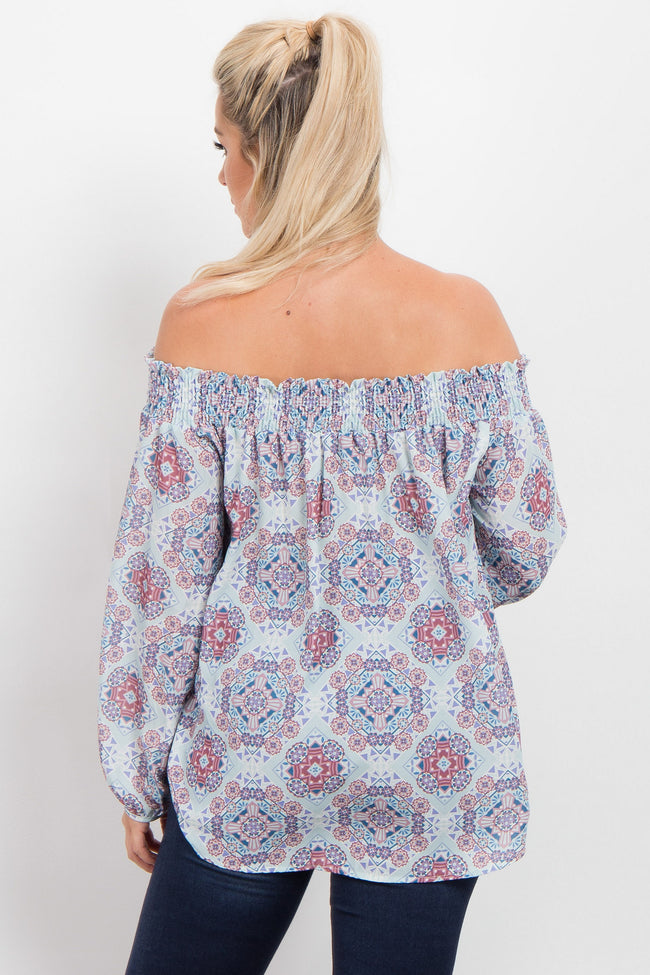Light Blue Printed Chiffon Off Shoulder Maternity Top