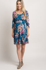 Teal Floral Chiffon Maternity Dress