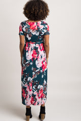 Green Floral Hi-Low Maternity Wrap Dress