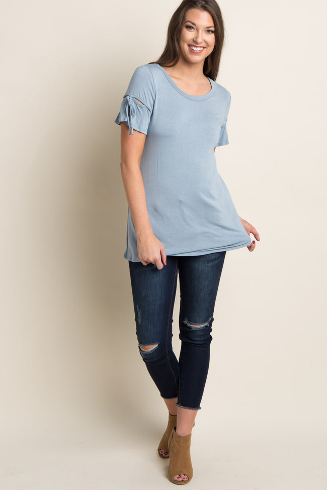 Blue Cutout Sleeve Tie Accent Top