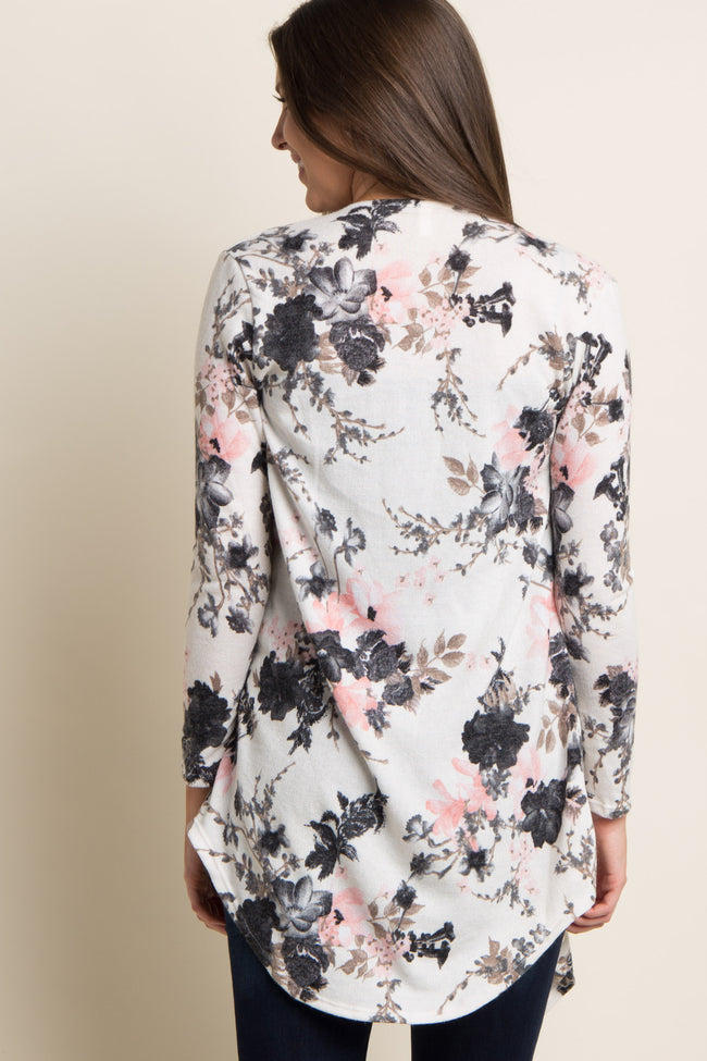 Pink Floral Draped Front Cardigan