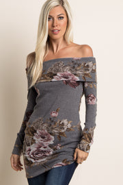 Grey Floral Off Shoulder Fitted Knit Tunic