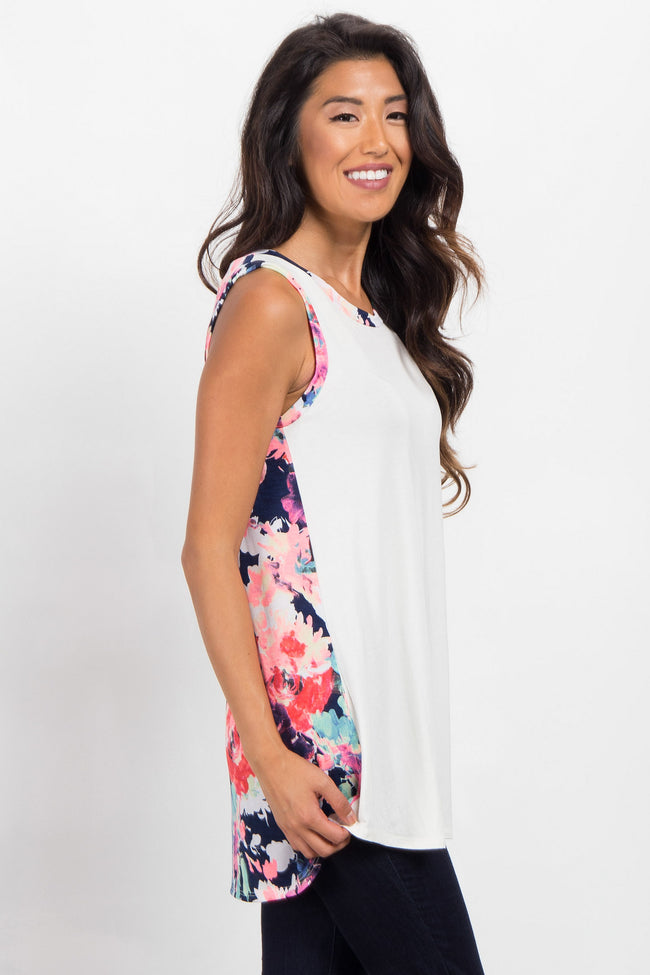 Ivory Solid Front Neon Floral Back Tank Top