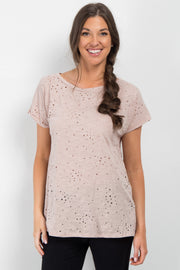 Light Pink Distressed Short Sleeve Top