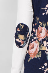 Navy Floral Colorblock Elbow Patch Top