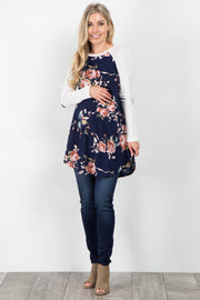 Navy Blue Floral Colorblock Elbow Patch Maternity Tunic