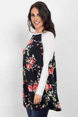 Black Floral Colorblock Elbow Patch Top