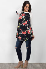 Black Floral Colorblock Elbow Patch Maternity Top