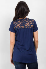 Navy Crochet Neckline Short Sleeve Top