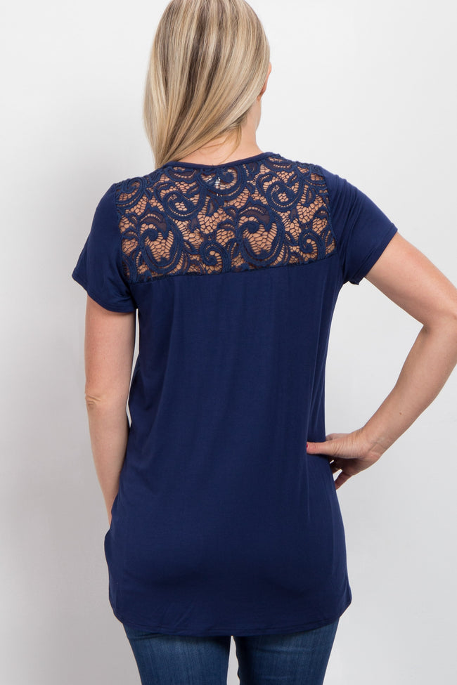 Navy Blue Crochet Neckline Short Sleeve Maternity Top