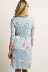Light Blue Floral Sash Tie Maternity Dress