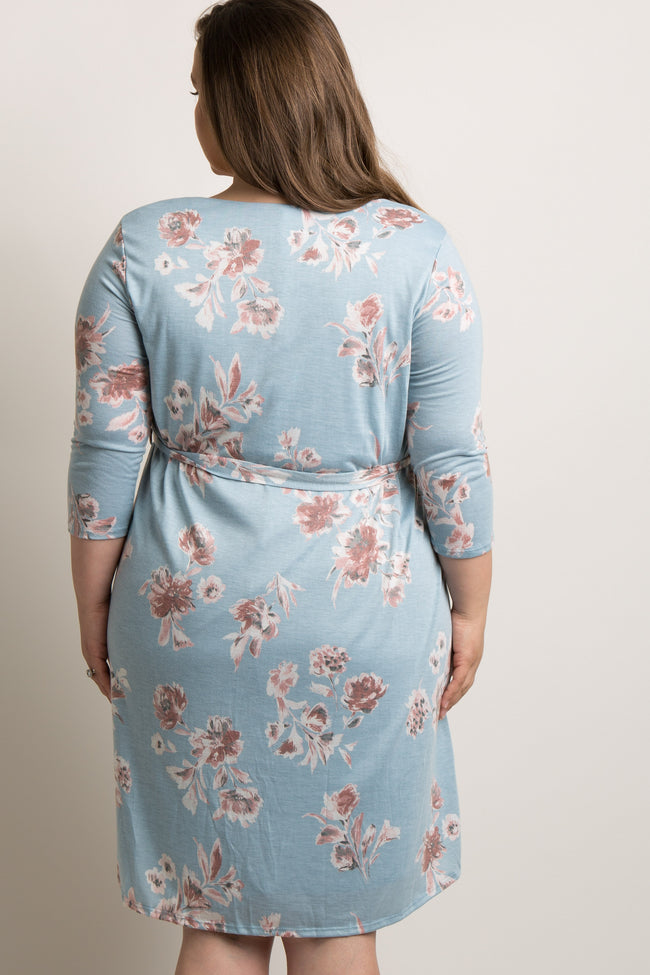Light Blue Floral Sash Tie Plus Maternity Dress