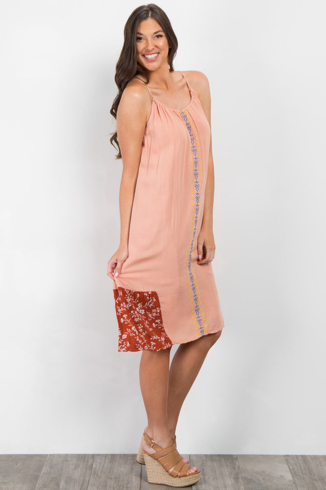 Peach Embroidered Printed Midi Dress