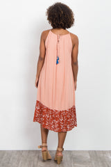 Peach Embroidered Printed Maternity Midi Dress
