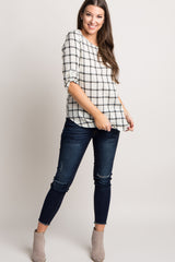 Ivory Plaid 3/4 Sleeve Maternity Top