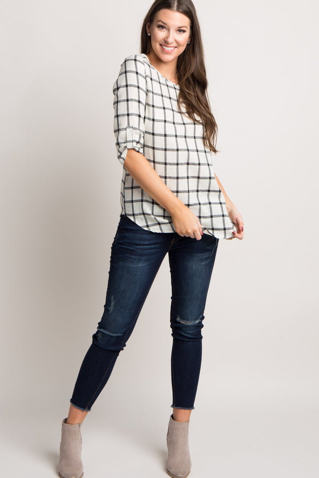 Ivory Plaid 3/4 Sleeve Top