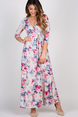 Cream Floral Wrap Maxi Dress