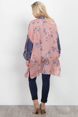 Mauve Printed Colorblock Maternity Cover Up