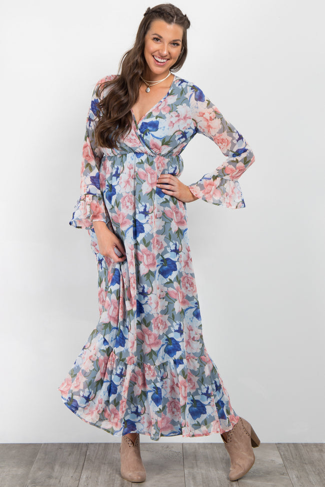 Blue Floral Chiffon Wrap Ruffle Maxi Dress