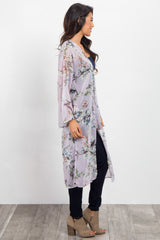 Lavender Floral Chiffon Long Cover Up