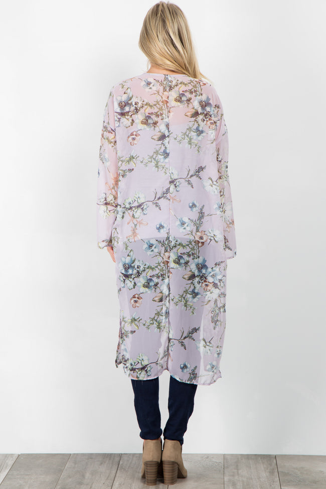 Lavender Floral Chiffon Long Maternity Cover Up