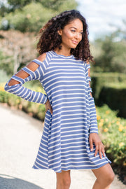 Blue Striped Cutout Shoulder Dress