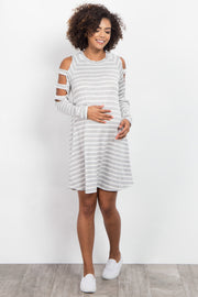 Heather Grey Striped Cutout Shoulder Maternity Dress