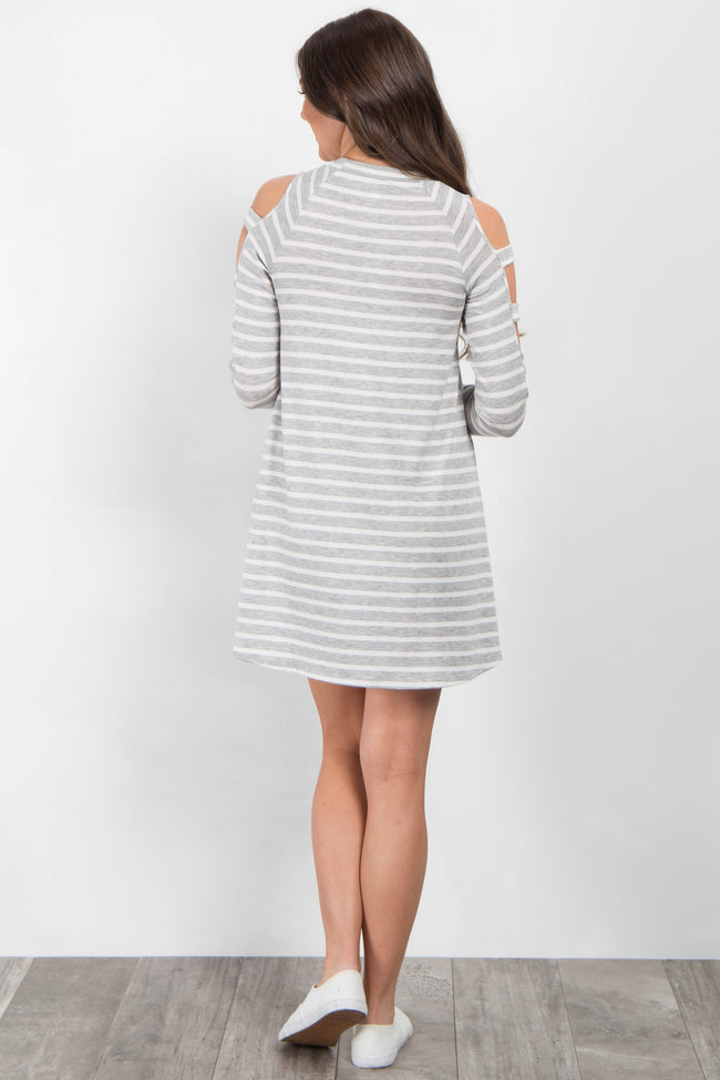 Heather Grey Striped Cutout Shoulder Dress